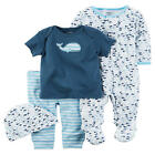 Carter's 4 Piece Blue/White Whale Print Footie, Blue Top, Striped Pant & Hat Set