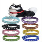 Lovely Pet Dog Cat Leather Crystal Collars Puppy Bling Diamond Collar