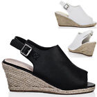 Womens Open Peep Toe Wedge Heel Espadrille Sandals Shoes Sz 3-8