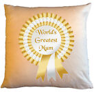 """Personalised Cushions 14"""" or 18"""" - World's Greatest Mum - Gold"""