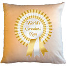 """Personalised Cushions 14"""" or 18"""" - World's Greatest Nan - Gold"""
