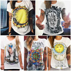 New Womens Ladies Summer Top Loose Short Sleeve Graphic T-shirt Blouse White Tee