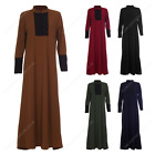Womens Ladies Long Zip Lace Full  Abaya Shirt Dress Maxi Kaftan Casual Wear
