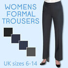Ladies Womens Work Trousers Office Formal Straight Leg Pants Size 8-14