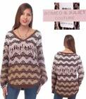 Lovely Romeo & Juliet Couture Brown-Patterned Fringed Sweater