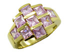 appealing Pink CZ Gold Plated Pink Ring exporter US 6,7,8,9