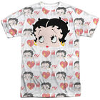 Betty Boop SYMBOLS Hearts Nail Polish 1-Sided Sublimated Big Print Poly T-Shirt $37.92 CAD