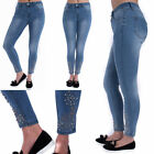 WOMENS HIGH Waisted Denim Faded SKINNY Ripped Embroidered JEANS Pants10 12 14 16