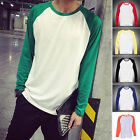 Long Sleeve Plain T-Shirt Lot Baseball Tee Raglan Jersey Sports Men's Tee HF