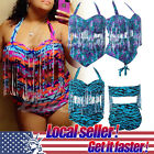 US LOCAL Plus Size Fringe Underwire Tassel High Waist Bikini Swimwear Swimsuit