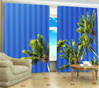 Tall Coconut Tree Under Sky 3D Blockout Photo Mural Printing Curtain Drap Fabric