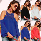 Sexy Womens Off Shoulder Lace Crew Neck T-Shirt Ladies Summer Casual Tops Blouse