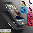 Tempered Glass Cover & Hybrid 360° Hard Thin Case For iPhone 5 SE 5s 6 6s 7Plus