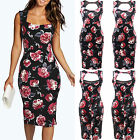 UK Womens Floral Print Sleeveless Bodycon Cocktail Ladies Slim Knee Length Dress