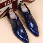 British Mens Pointy Toe Patent Leather Formal Wedding Shoes Dress Brogue Oxford