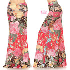 Colorful Floral Sublimation high waist fold over maxi long skirt (S/M/L/XL)