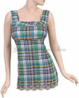 PLUS SIZE CHECKERED WIDE STRAP RED or GREEN with BLUE TANK TOP BLOUSE, 1XL 2XL