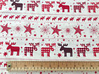 100% Cotton Fabric - Red Nordic Christmas Reindeer Print - Fabric Material Metre