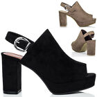 Womens Platform Block Heel Sandals Shoes Sz 3-8
