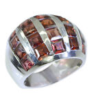 tempting Garnet Silver Red Ring handmade L-1in US 5,6,7,8