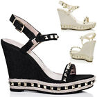 Womens Platform Studded Wedge Heel Barely There Espadrille Denim Sandals Shoes S