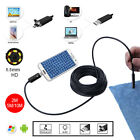 US 2IN1 5.5/7/8mm 2m/5m/10m Android/PC 6LED Coms waterproof Endoscope Borescope