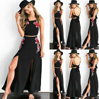 UK Womens Floral Crow Tops+Skirt Sets Evening Party Bodycon Long Maxi Sun Dress