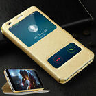For Huawei Honor Special Luxury Gold PU Leather View Window Stand Cover Case