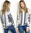 White Long Sleeve Button down Rayon Peasant Ethnic Print Top casual Cute Blouse