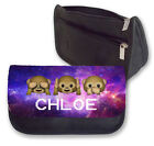 Personalised Galaxy Emoji Monkeys Case/Makeup Bag.Personalise with any name