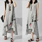 Summer Women Rtro China Style Floral Maxi Full Length Loose Linen Tunic Sundress