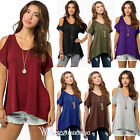 S-5XL Womens Summer Cold Shoulder Loose Tops Short Sleeve Blouse Casual T-shirts