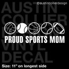 "11"" SPORTS MOM Decal Sticker - Volleyball Baseball Basketball Softball Football"