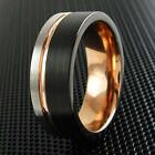 3-Tone Black Flat Band Tungsten Ring Rose Gold Silver Stripe Men's Engraveable