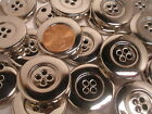 New Large Buttons Silver Metal  1 1/8 inch = 28 mm coat blazer #S22