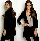 Black lightweight woven Women's 3/4 sleeve Stylish open Front Cardigan Jacket