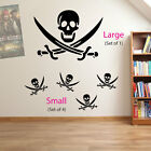 Skull and Cross Bones Pirates Swords Skulls Kids Wall Stickers Decal Decor A19