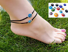 Glass Evil Eye Beads Anklet on Nylon Cord Variety of Colours Adjustable or clasp