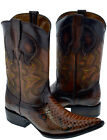 Mens Cognac Rust Brown Snakeskin Python Design Western Leather Cowboy Boots