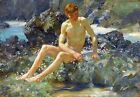 Nude on the Rocks Painting by Henry Scott Tuke Art Reproduction