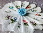 6 Sweet Women Cotton Embroidered Butterfly Flower Lace Hankies Floral Assorted