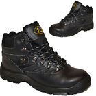 MENS LEATHER SAFETY STEEL TOE CAP BOOTS  BLACK LACE UP ANKLE WORK TRAINERS SHOES