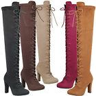 suede chunky heel boots - New Women Vegan Suede Lace Up Over The Knee Boot Chunky Thick Block High Heel US