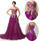 Plus Size Long Peacock Formal Bridesmaid Wedding Evening Party Gown Ball Dress ☇