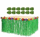 Green Hawaiian Luau Grass Table Skirt Hula Moana Beach Birthday Party Decor 9ft