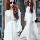Fashion Women V-neck Chiffon Dress Long Sleeve Beach Party Casual Maxi Dress NEW