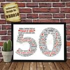 50th Wedding Anniversary Personalised Present Print wordart greeting poster gift