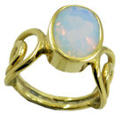 radiant Fire Opal CZ Gold Plated White Ring handmade US 6,7,8,9
