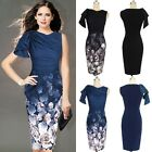 Fashion Women Print Flower Wiggle Pleated Pencil Dress Casual Bodycon Party Dres