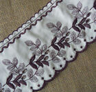 """3- 4.4 Yards 4.5"""" Wide Ivory Vintage Cotton Lace & Embroidered Blum Flower b0096"""